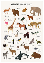 Alphabet Animal Chart Set For Kids