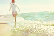 Soft Image Of A Child Running On The Beach, Defocused Image, Ins