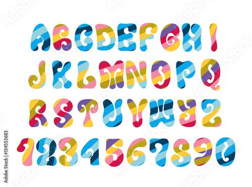 Fotografie, Obraz  Psychedelic font with colorful pattern. Vintage hippie alphabet.