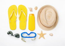 Variety Beach Accessories On White Background. Vacation And Trav