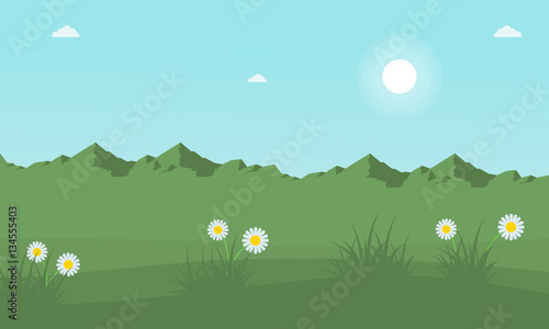 Deurstickers Lichtblauw Mountain with beauty flower at spring landscape