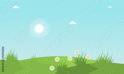 Tuinposter Lichtblauw Spring with flower landscape collection stock