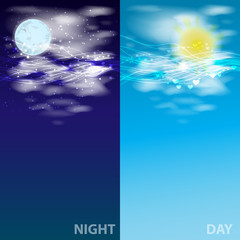 the sky day and night. glowing lines Illustrations