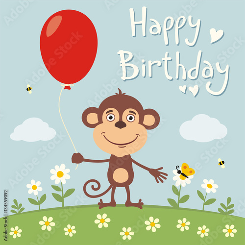 Happy Birthday Funny Monkey With Red Balloon On Flower Meadow Card