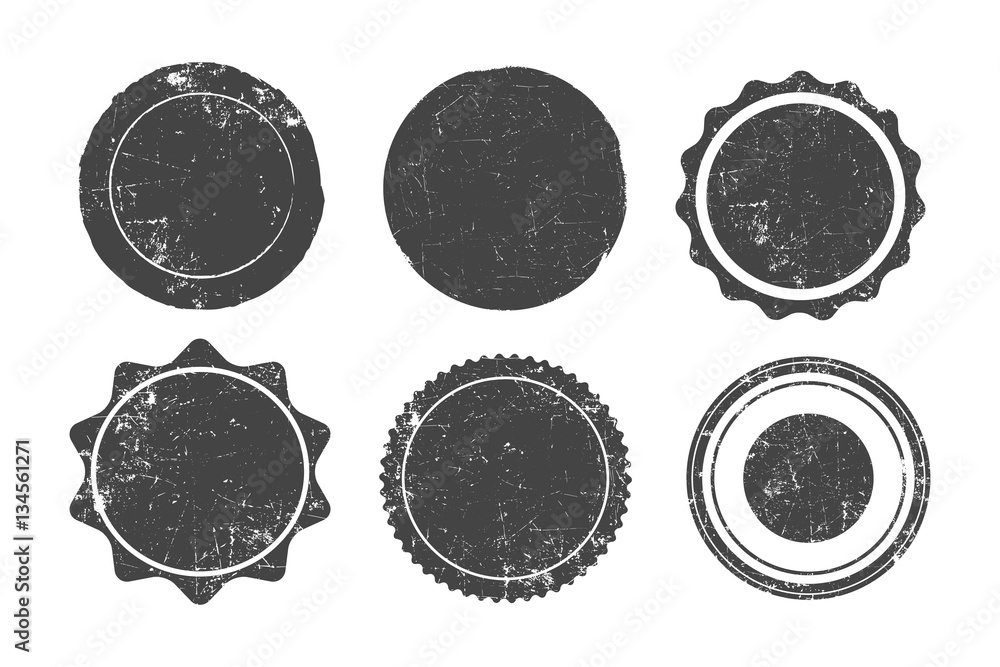Fototapety, obrazy: Set of six round grunge stamps, badges and banners, vector illustration.