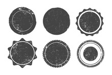 Set Of Six Round Grunge Stamps, Badges And Banners, Vector Illustration.