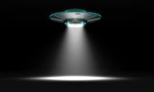 Vintage UFO Isolated On Black....