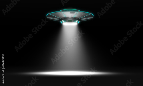Photo sur Aluminium UFO Vintage UFO isolated on black. 3d illustration