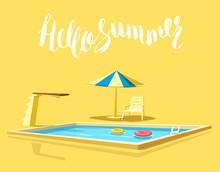Hello Summer. Swimming Pool. C...