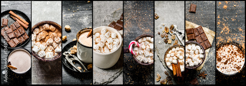 Staande foto Chocolade Food collage of hot chocolate .
