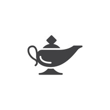 Magic Oil Lamp Icon Vector, Filled Flat Sign, Solid Pictogram Isolated On White. Symbol, Logo Illustration
