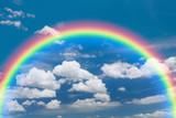 Fototapeta Tęcza - Blue sky and white cloud with rainbow background.