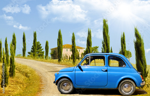 Foto op Canvas Vintage cars Vintage car, FIAT 500, in Tuscany