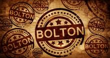 Bolton, Vintage Stamp On Paper Background