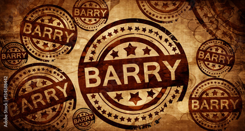 Barry, vintage stamp on paper background Wallpaper Mural