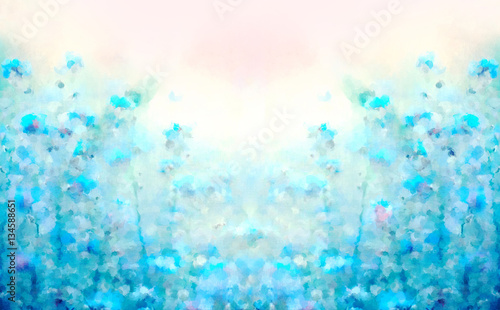 Spring Summer Flowering Bloom Template Background For Wallpaper Design Card Abstract Scenic Floral Watercolor