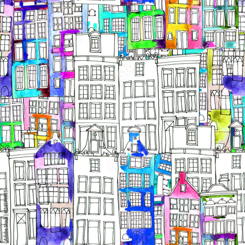 Photo  Seamless pattern eith watercolor Amsterdam houses