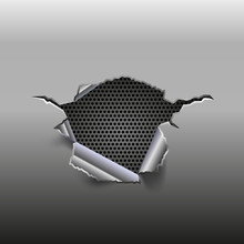 Abstract Metal Background With Hole And Metal Grid Inside, Vector Illustration