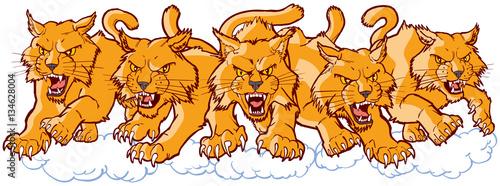 Fényképezés  Group of Mean Wildcat Cartoon Mascots Charging Forward