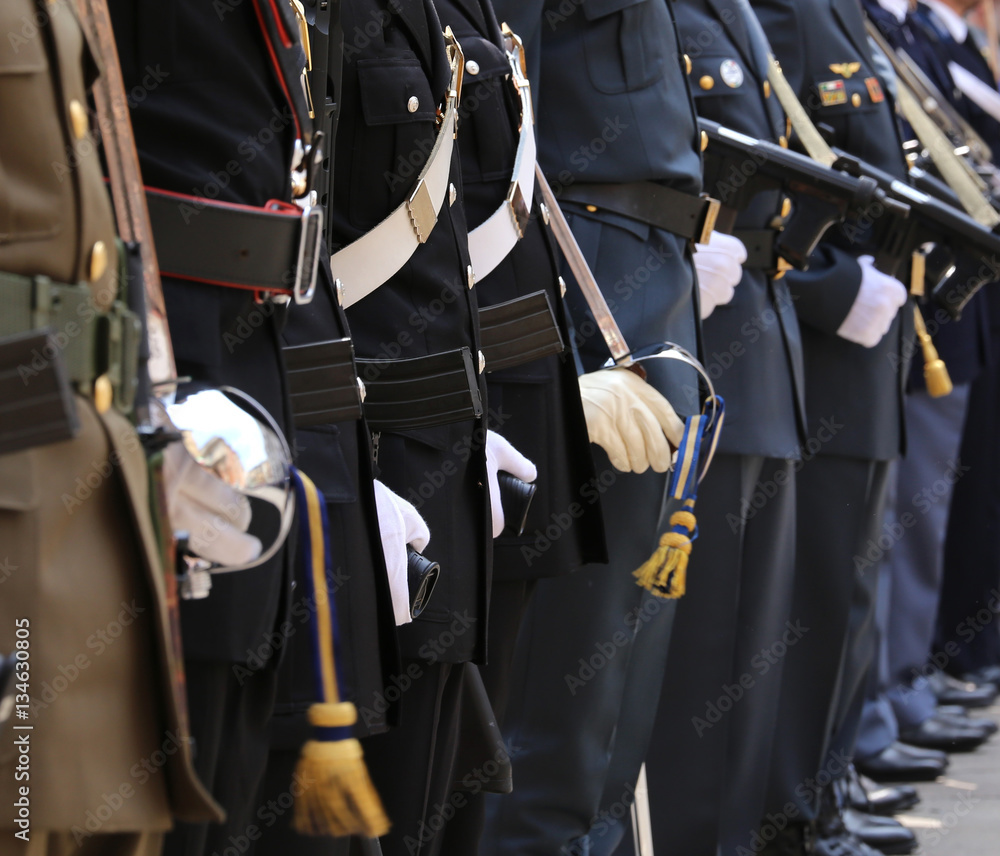 Fototapeta Italian armed forces with many agents in high parade uniform dur