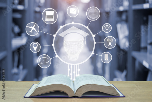 Fotografie, Obraz  education technology concept,lamp with graduation hat and techno