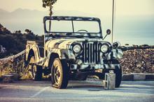 Khaki Military Jeep In The Mountains On The Island Of Zakynthos, Greece
