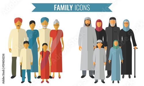 Fototapeta Family icons set. Traditional Culture. Vector obraz na płótnie