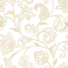 Floral Pattern. Seamless Oriental Arabesque Background. Tiled Ornament