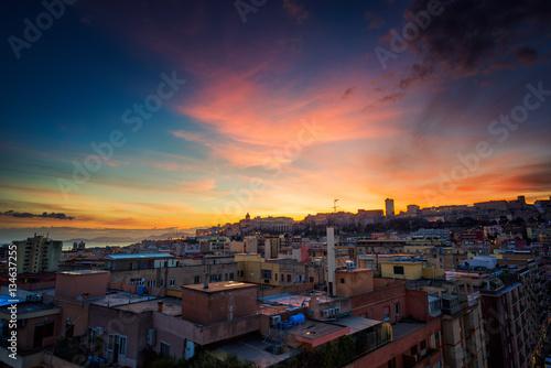 Fototapeta Colorful sunset in Cagliari obraz na płótnie