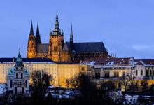 Illuminated Prague Castle In Winter Evening