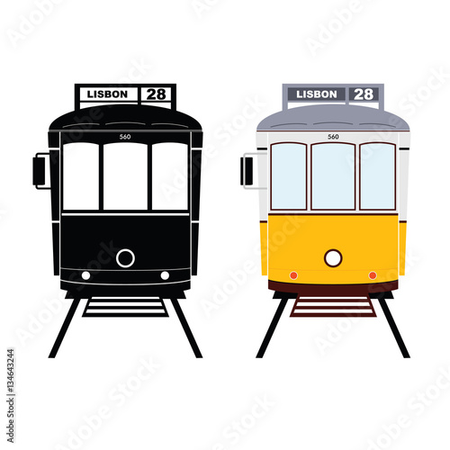 Photo  Lisbon tramway in black and yellow color illustration