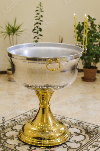 Fototapeta bowl for baptism of newborn