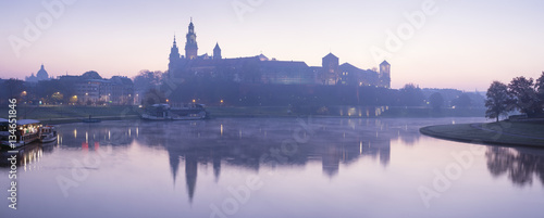 obraz PCV panorama of blue morning on the river with castle