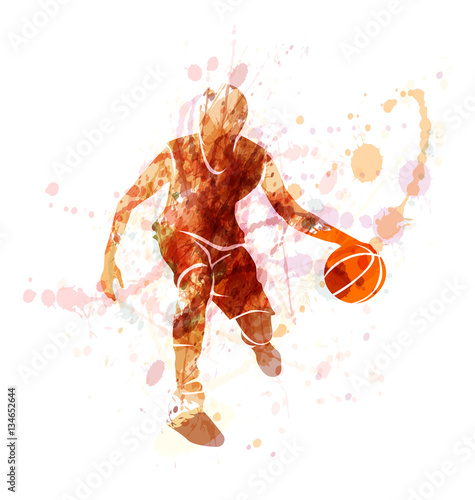 Colored vector silhouette of basketball player with ball © onot