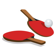 Ping Pong Sport Emblem Icon Ve...