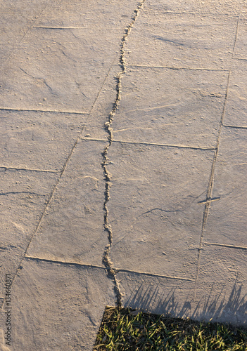 Fissured Surfaces Of Stamped Concrete Pavement Outdoor Appearance