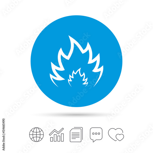 Fototapety, obrazy: Fire flame sign icon. Heat symbol.