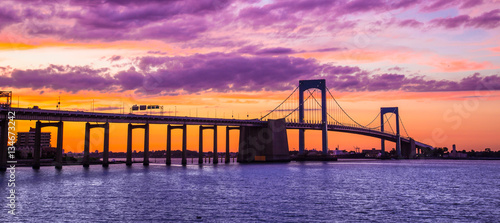 Canvas Prints Bridge New York City Throgs Neck Bridge from Queens NYC to the Bronx with colorful sunset sky