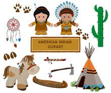 Indian Symbols Set, Cartoon Characters Of American Indians