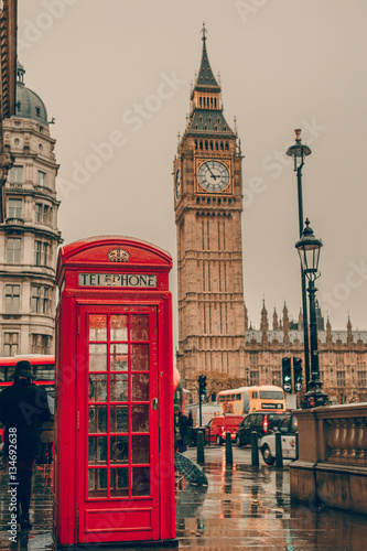 Big Ben in London, England and famous red telephone cabin Wallpaper Mural