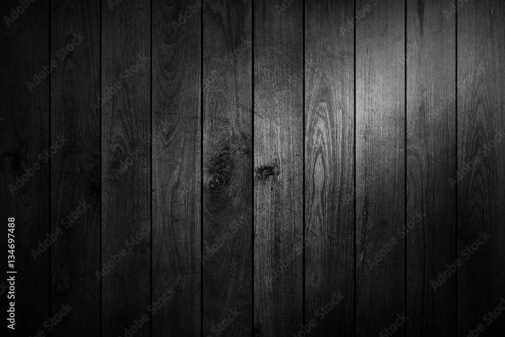 Fototapeta black and white wood table top view background. - obraz na płótnie