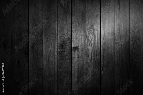 Fototapeta black and white wood table top view background. obraz na płótnie