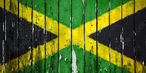Illustration Flag of Jamaica on wooden background Fototapeta
