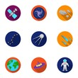 Space set icons in flat style. Big collection of space vector symbol stock illustration