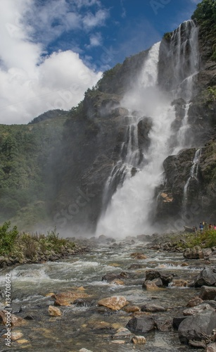 Printed kitchen splashbacks River misty waterfall in the himalayas