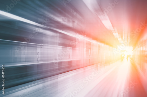 High speed business and technology concept, Acceleration super fast speedy motion blur of train station for background design Wallpaper Mural