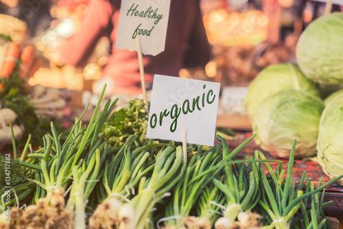 Fotografie, Obraz  Organic foods. Fresh organic food at the local farmers market.