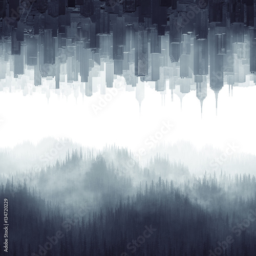 Foto  Forest city haze / 3D illustration of urban cityscape and tree covered hills com