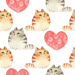 Obraz Cartoon cats. Watercolor seamless pattern 2. Valentine's day.