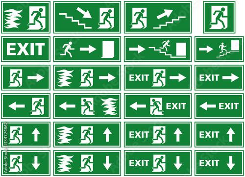 Vector Illustration Symbol Set Of Fire Alarm Plates Emergency Exit